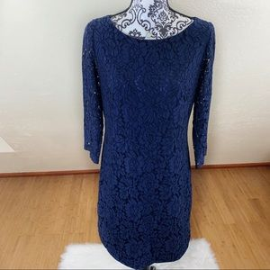 Vince Camuto Navy Blue Lace Shirttail Hem Dress